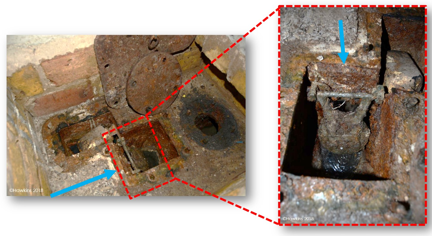 An anti-flooding valve in want of maintenance.  It had deteriorated such that it no longer provided a watertight seal, and so failed to prevent backflow from the public sewer