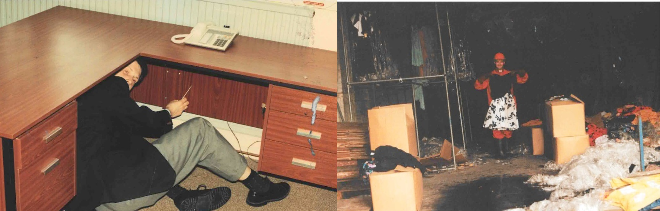 Andy Bryce pictured fixing a desk and investigating a fire during his early years at Hawkins